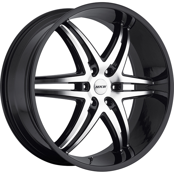 MKW M113 Gloss Black with Machined Face and Black Lip 6 Lug