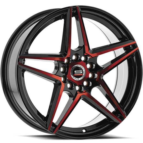 Spec-1 SP-54 Gloss Black with Red Milled Spokes