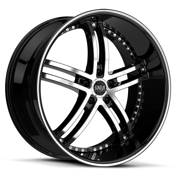 Status S816 Knight 5 Gloss Black with Machined Face and Stripe