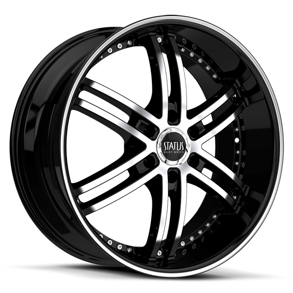 Status S817 Knight 6 Gloss Black with Machined Face and Stripe