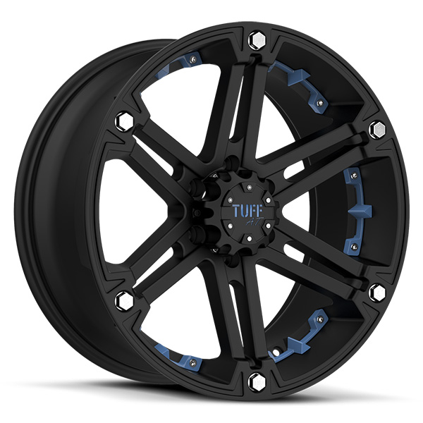 Tuff T01 Flat Black with Blue Inserts