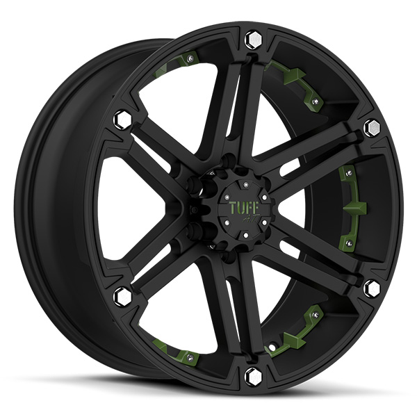 Tuff T01 Flat Black with Green Inserts