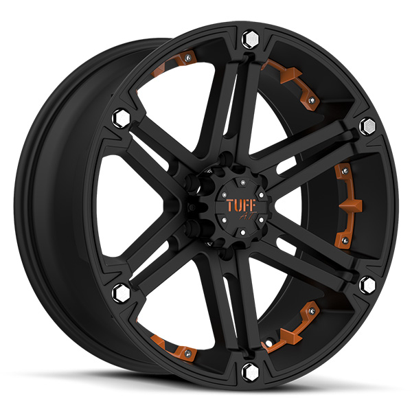 Tuff T01 Flat Black with Orange Inserts