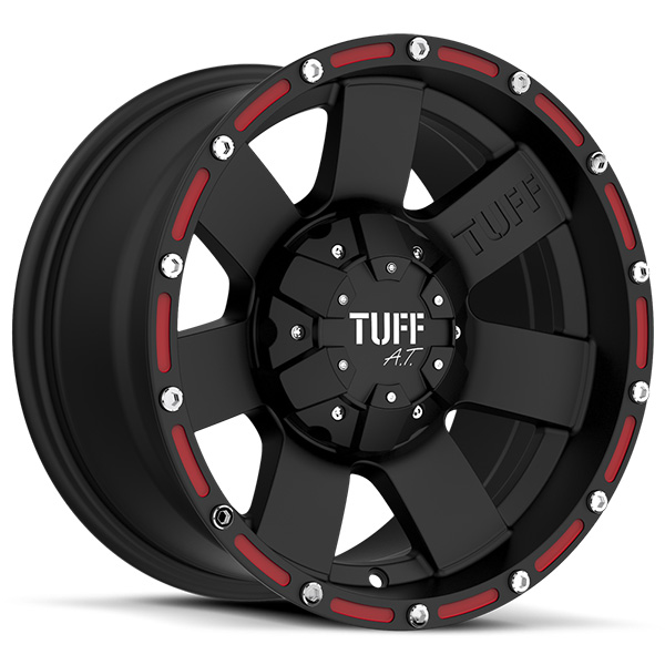 Tuff T02 Flat Black with Red Inserts