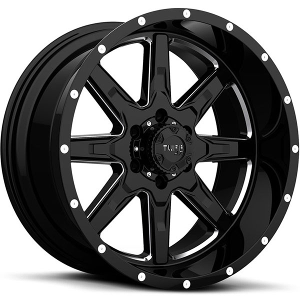 Tuff T15 Gloss Black with Milled Spokes