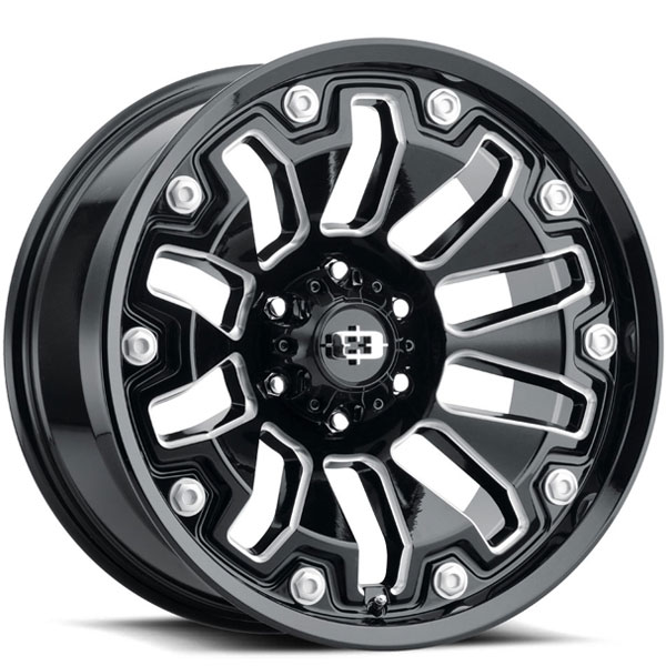 Vision 362 Armor Gloss Black with Milled Spokes 6 Lug