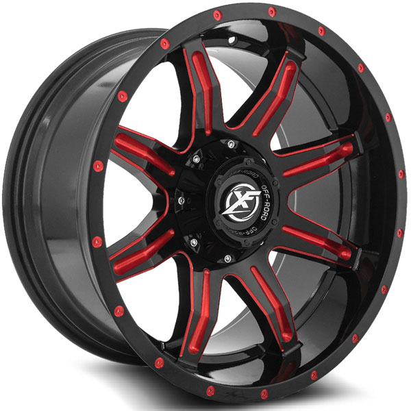 XF Off-Road XF-215 Gloss Black with Red Spokes