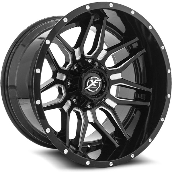 XF Off-Road XF-222 Gloss Black with Milled Spokes